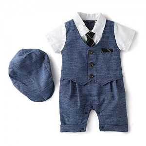 Si Noir by Hopscotch Si Noir Boy's Cotton Formal Style Romper with Cap Blue