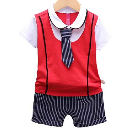 Si Noir by Hopscotch MDX Boy's Cotton T-Shirt with Tie and Shorts Set Red for 3-4 Years