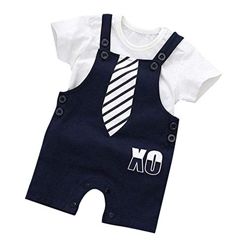 Si Noir by Hopscotch Si Noir Boy's Cotton Tie Print Dungaree with T-Shirt Set Navy
