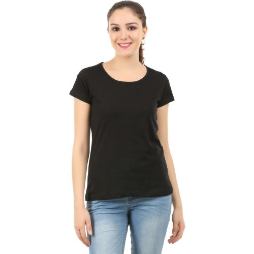 MIDAAS Solid Women Round Neck Black T-Shirt