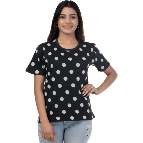 69GAL Geometric Print Women Round Neck Black T-Shirt
