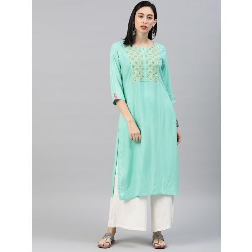 Alena Women Embroidered Straight Kurta