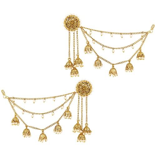 ASMITTA JEWELLERY Asmitta Traditional Bahubali Design Gold Plated Jhumki Earrings With Hair Chain For Women