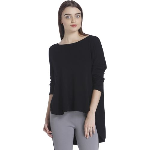 Vero Moda Solid Women Round Neck Black T-Shirt