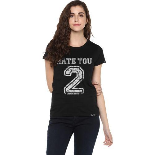 Young Trendz Graphic Print Women's Round Neck Black T-Shirt