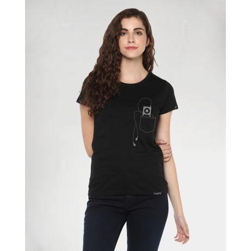 Young Trendz Graphic Print Women Round Neck Black T-Shirt