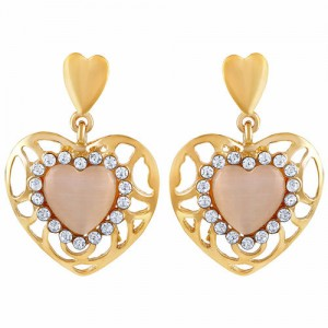2823bc912 ASMITTA JEWELLERY Asmitta Classy Heart Shape With Crystal Gold Plated  Dangle Earring For Women