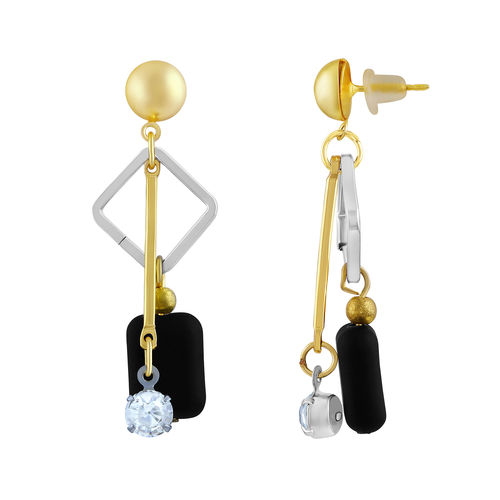 ASMITTA JEWELLERY Asmitta Modern White Stone Gold Dangle Earring For Women