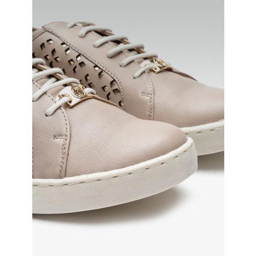 Carlton London Women Beige Leather Laser Cut Sneakers