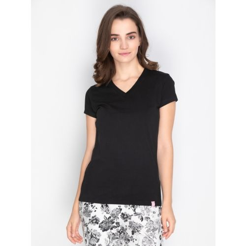 Lux Lyra Solid Women V-neck Black T-Shirt