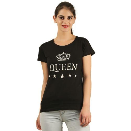 First Wave Graphic Print Women's Round Neck Black T-Shirt