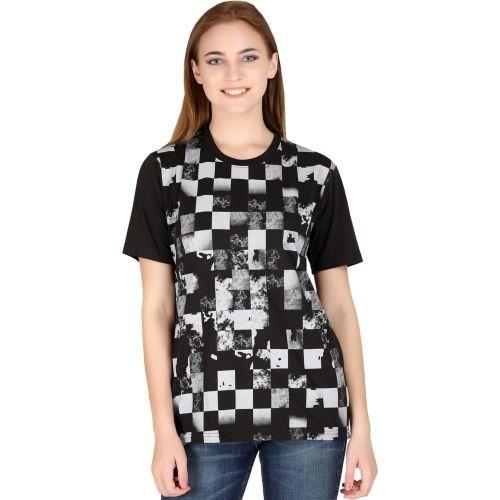 69GAL Checkered Women Round Neck Black T-Shirt