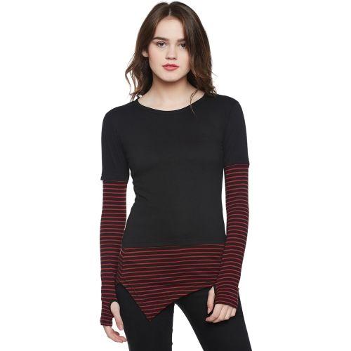 Hypernation Striped Women Round Neck Black, Red T-Shirt