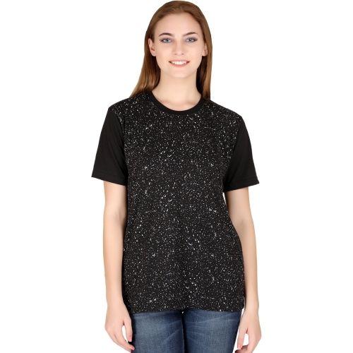 69GAL Printed Women's Round Neck Black T-Shirt