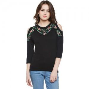 Buy Hypernation Brown Color High Neck T-Shirt for Women online ... d1f163933