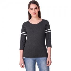Q-Rious Solid Women's Round Neck Black T-Shirt
