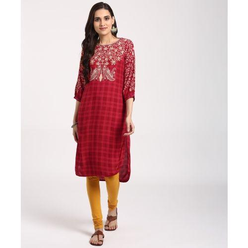 Rangriti Women's Printed High Low Kurta