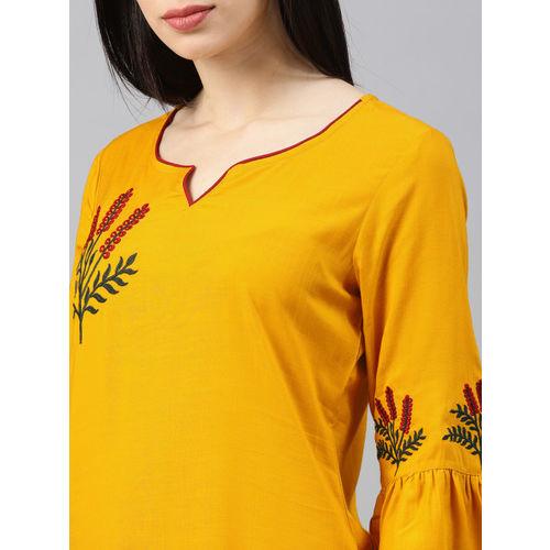 Alena Women Mustard Yellow Embroidered Straight Kurta