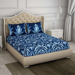 Spaces Occasions 210 TC Cotton Double Bedsheet with 2 Pillow Covers - Abstract, Blue