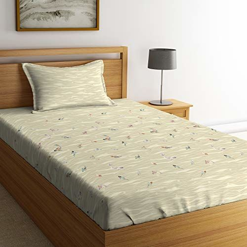 Spaces Gond Tales Cotton 144 TC Sea Mist Printed Bedsheet with Pillow Cover - Multicolour