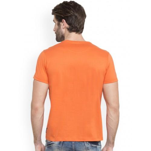 SPYKAR Men Orange Printed Round Neck T-shirt