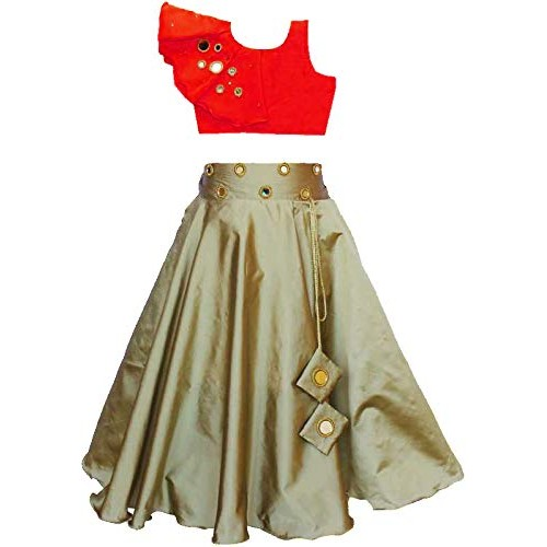 Generic Red And Golden Mirror Work Lehenga Choli