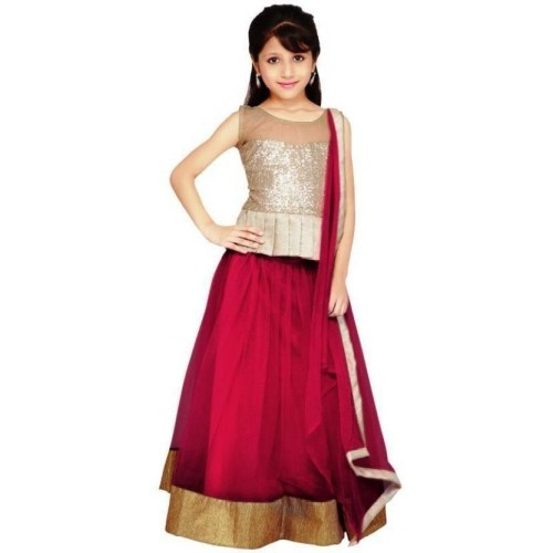 Active Maroon & White  Solid Lehenga Choli