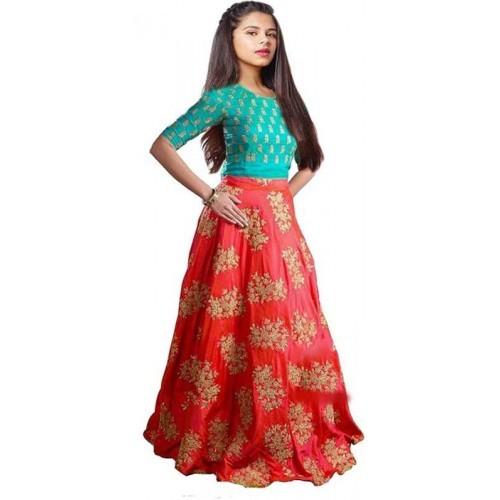 Yovi Empire Girl's Taffeta Silk Lehenga Choli
