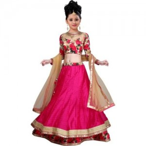 BAWRI Pink Floral Print Lehenga, Choli and Dupatta Set