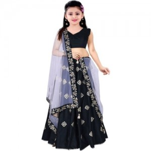 MF Retail Black Embroidered Lehenga, Choli and Dupatta Set