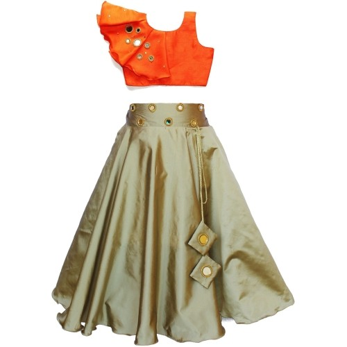 MVD Fashion Orange Ethnic Embellished Ghagra Choli