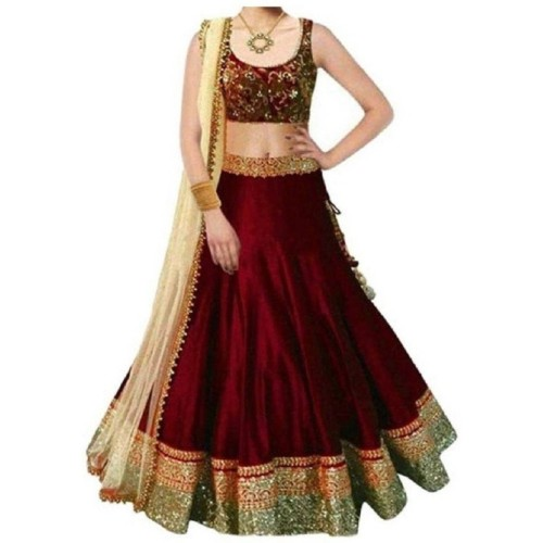 MF Retail Girl's Red Lehenga Choli Embroidered Lehenga