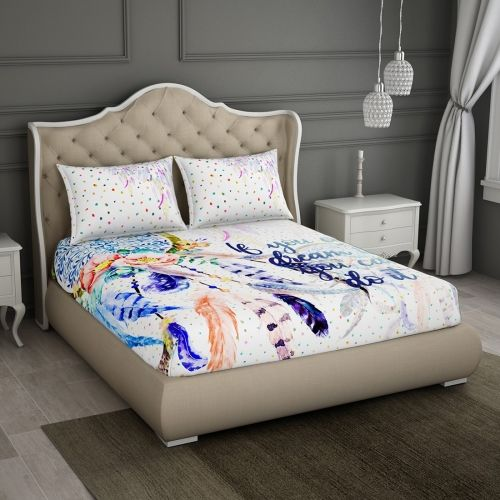 SPACES 180 TC Cotton Double Printed Bedsheet