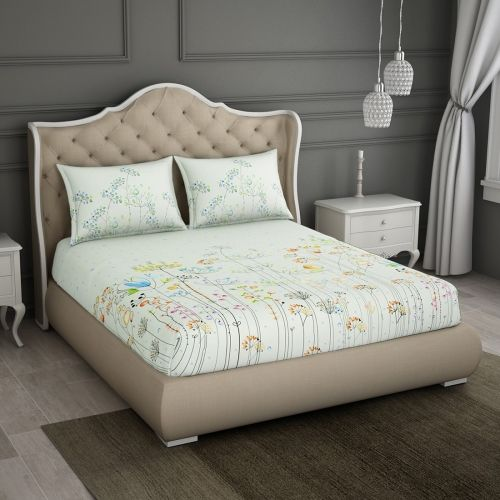SPACES 180 TC Cotton Double Floral Bedsheet