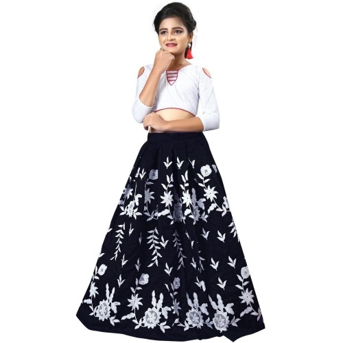 F Plus Fashion Black Party Wear Embroidered Lehenga Choli