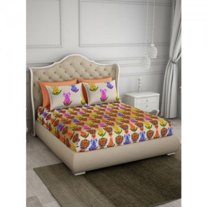 SPACES Multicoloured Floral 300 TC Cotton 1 King Bedsheet with 4 Pillow Covers