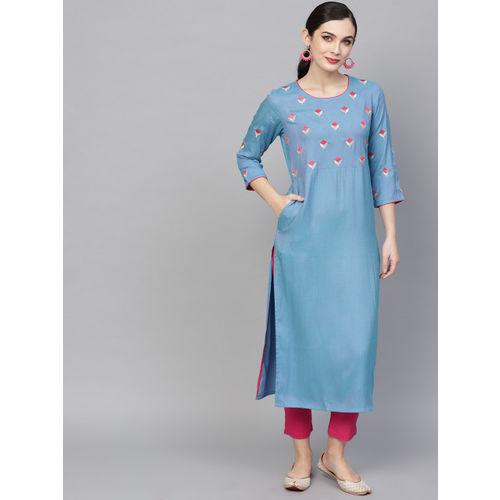 AKS Women Blue & Pink Yoke Design Straight Kurta