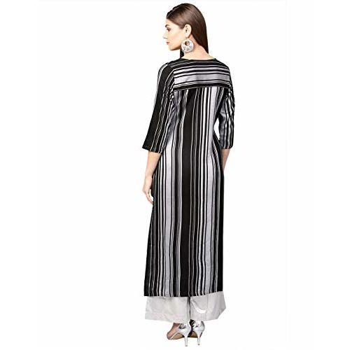 Jaipur Kurti Women Black Geometric straight Yarn Dyed Rayon Kurta