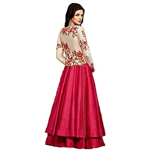 Smily Creation Pink Cottton silk embroiderd Long Gown