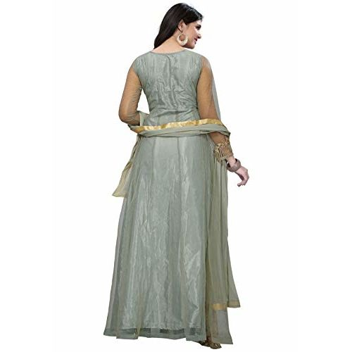 Royal Export Grey Net A-line Long Party Wear Fullstitched Dress