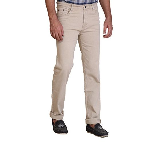 Dragaon Silk Denim Stretchable Chinos Jeans for Mens- Beige