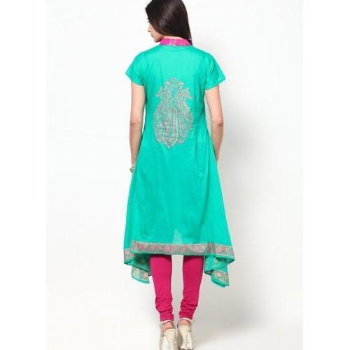 MBE Green Cotton Indowestern Kurti