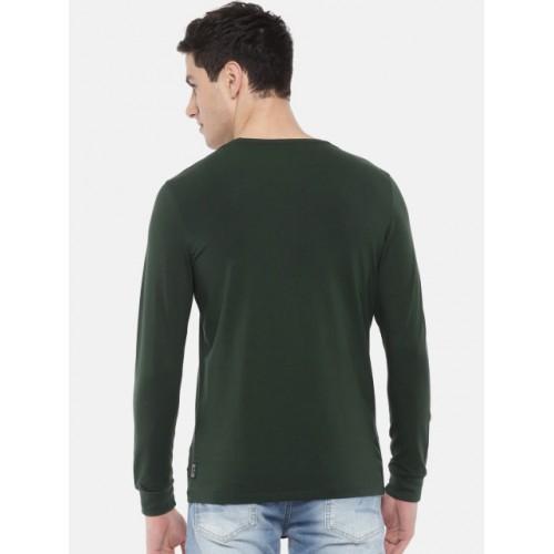 SPYKAR Men Green Solid Round Neck T-shirt