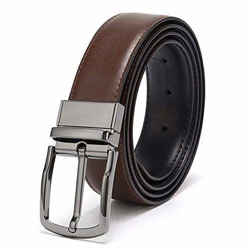 Coovs Mens Reversible Belt For Men Dress of One-Piece Grain Leather 1 3/8, One Belt Reverse for 2 Colors