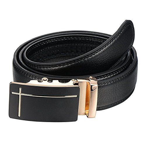 OMIAX™ OMIAX Men's Leather Ratchet Belt Automatic Solid Buckle Adjustable Belt Without Holes (Black, Free Size)