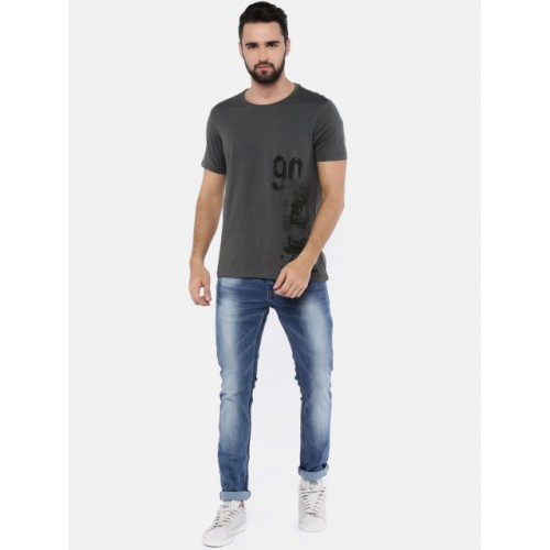 SPYKAR Men Charcoal Grey Printed Round Neck T-shirt