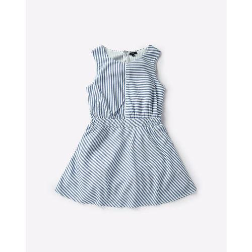 AJIO Striped A-line Dress with Back Cutout