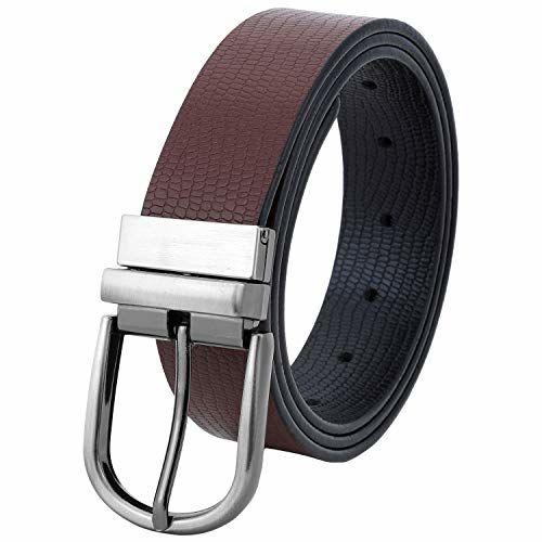 abcfa770f ... Pontos Silver Buckle Formal Black   Brown Color 100% Genuine Leather  Reversible Belt for Men ...