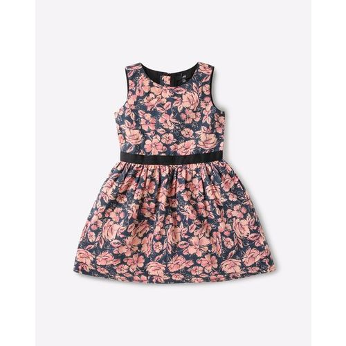 AJIO Sleeveless Floral Print A-line Dress