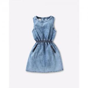 AJIO Sleeveless Fit & Flare Denim Dress